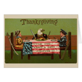 Cartão Grato para as forças armadas na acção de graças,