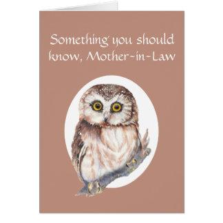 Cartão Grato para você coruja de dia das mães da sogra