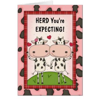 Cartão Gravidez - vacas para pais expectantes