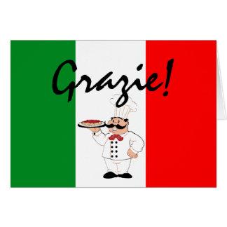Cartão Grazie agradece ao cozinheiro chefe italiano