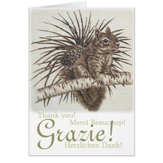 Cartão Grazie! Esquilo multilingue dos obrigados de