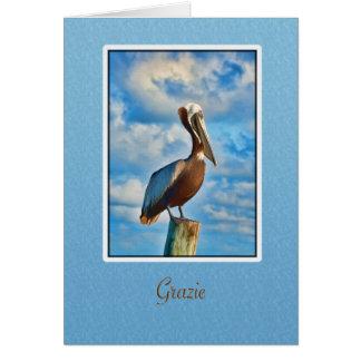 Cartão Grazie, obrigado, italiano, pelicano