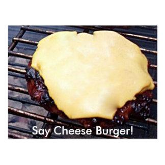 Cartão grelhado do hamburguer do queijo