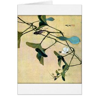 Cartão Grilo em uma arte Ukiyo-E de Woodblock do japonês