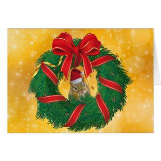 Cartão Grinalda bonito do Natal do Chipmunk