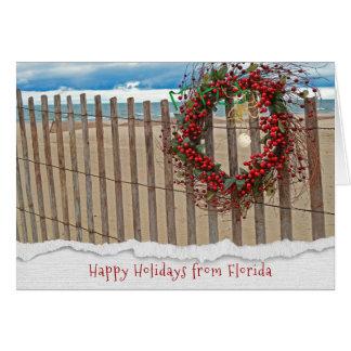 Cartão Grinalda da praia da baga do Natal na cerca