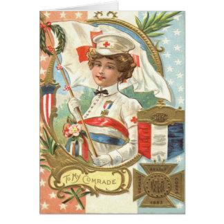 Cartão Grinalda das flores da enfermeira da cruz vermelha