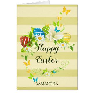 Cartão Grinalda das flores e das borboletas do primavera