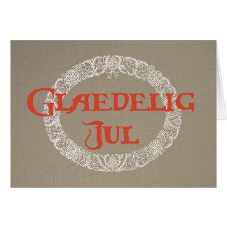 Cartão Grinalda dinamarquesa do Natal branca e vermelho