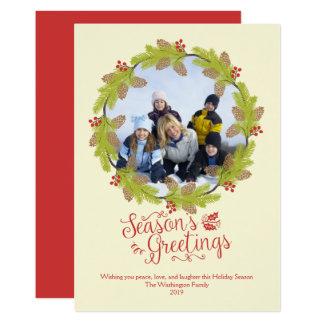 Cartão Grinalda do azevinho da foto do Natal dos