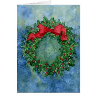 Cartão Grinalda do azevinho do Natal