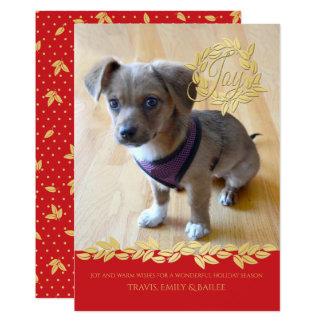 Cartão Grinalda do feriado do ouro e foto da festão