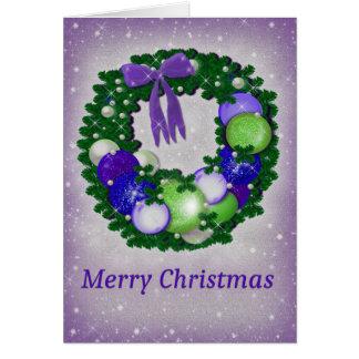 Cartão Grinalda do Natal no roxo e no verde