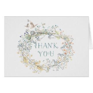 Cartão Grinalda do Wildflower com o obrigado da borboleta