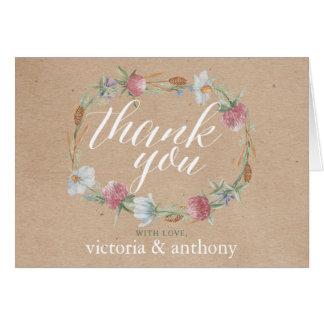 Cartão Grinalda do Wildflower em obrigados do casamento
