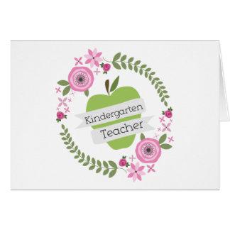 Cartão Grinalda floral de Apple do verde do professor de