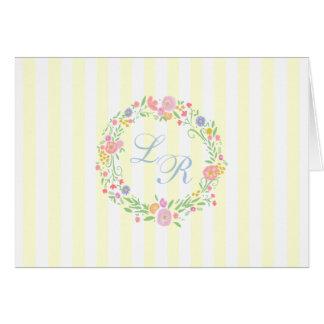 Cartão Grinalda floral e luz do monograma - listras