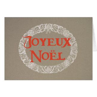 Cartão Grinalda francesa do Natal branca e vermelho na