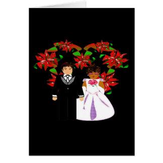 Cartão Grinalda inter-racial do coração do casal do