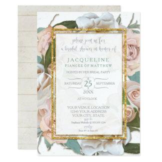 Cartão Grinalda romântica rústica do rosa do rosa do chá