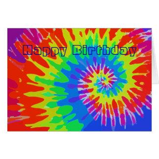 Cartão Groovy da Laço-Tintura do feliz aniversario