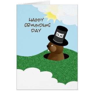 Cartão Groundhog dia o 2 de fevereiro feliz