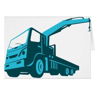 Cartão grua da carretagem do guindaste do caminhão retro