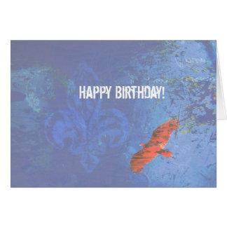 Cartão Grunge azul crescente do pássaro do aniversário