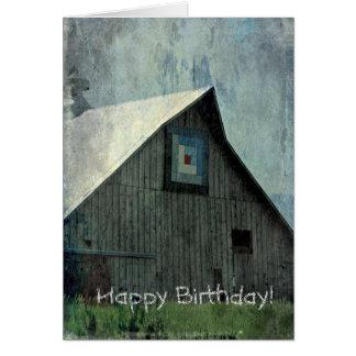 Cartão Grunge da edredão do celeiro, aniversário