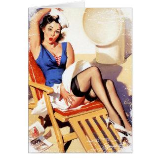 Cartão Grunge de Gril do cruzeiro do vintage