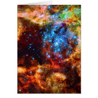 Cartão Grupo estelar, imagem do espaço da nebulosa do
