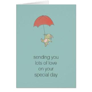 Cartão Guarda-chuva do coelho