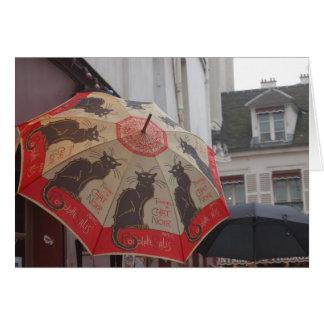 Cartão Guarda-chuva Noir Montmartre do bate-papo