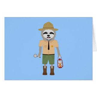 Cartão Guarda florestal da preguiça com lâmpada Z2sdz