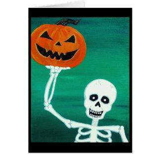 Cartão guardarando de esqueleto do Dia das Bruxas