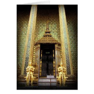 Cartão Guardiães da foto dourada de Tailândia do palácio
