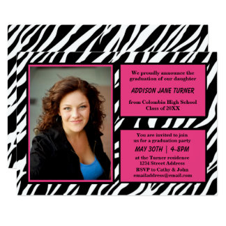 Cartão Guarnição da zebra w/Pink com foto - formando o