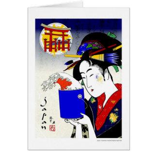 Cartão gueixa como o pintor