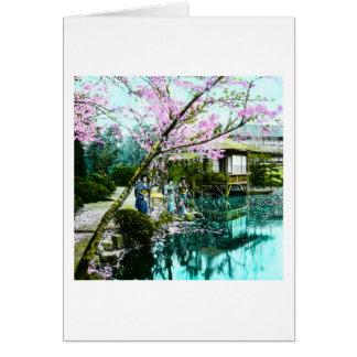 Cartão Gueixa da casa de chá em jardins de Fugetsu de