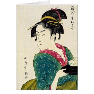 Cartão Gueixa de Naniwaya Okita