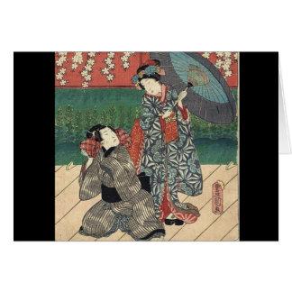 Cartão gueixa tradicional do japonês do quimono do
