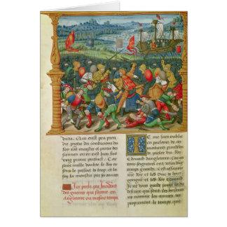 Cartão Guerra empreendendo do rei Edward III na batalha