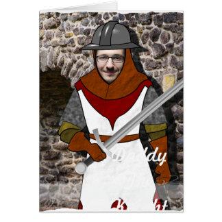 Cartão Guerreiro medieval do cavaleiro - com SUA foto -