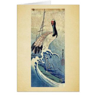 Cartão Guindaste nas ondas por Ando, Hiroshige Uiyoe.