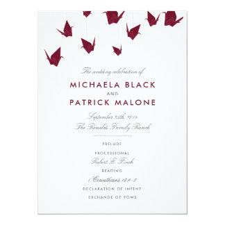 Cartão Guindastes de papel de Borgonha que Wedding o