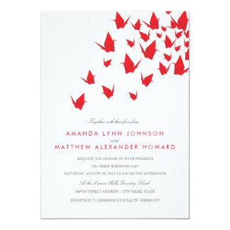 Cartão Guindastes de papel de Origami que Wedding