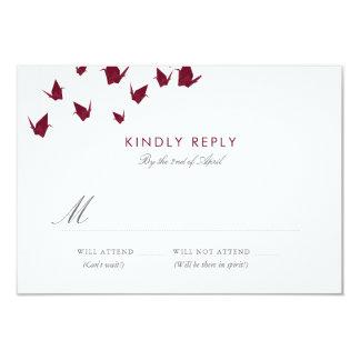 Cartão Guindastes de papel de Origami que Wedding RSVP