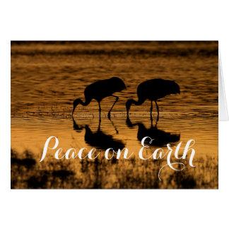 Cartão Guindastes de Sandhill, paz na terra
