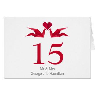 Cartão guindastes vermelhos do origami que Wedding o