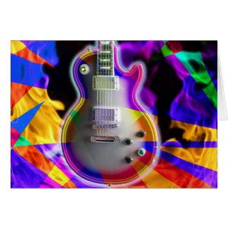 Cartão Guitarra elétrica psicadélico e chamas